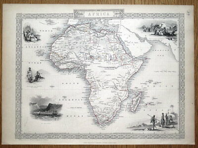 AFRICA, Rapkin & Tallis original antique map 1851