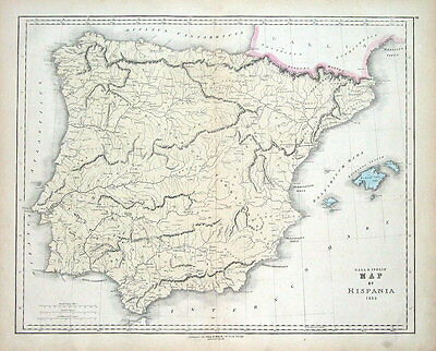 SPAIN & PORTUGAL, Gall & Inglis original antique hand coloured map c1850