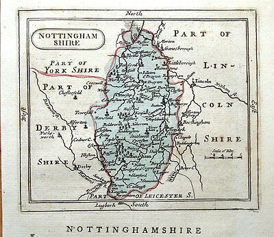 NOTTINGHAMSHIRE, Seller/ Grose Hand Coloured Antique County Map c1780