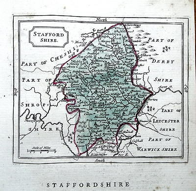 STAFFORDSHIRE, Seller/ Grose Hand Coloured Antique County Map c1780