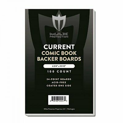 """100 CURRENT Size White Comic Backing Boards by Max Pro (6.75"""" x 10.5"""") - Protect"""