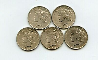 Lot of 5 Peace Silver Dollars (1922, 1922, 1923, 1923, 1926-S)
