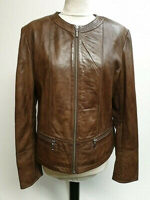 fdee2cd0ff9d Z265 Womens Ashwood Of London Brown Leather Jacket Extra Large Xl 14 38