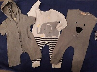 X3 Baby Boys Rompers Romper Suits 6-9 Months 9-12 Outfit Bundle soft comfy zip