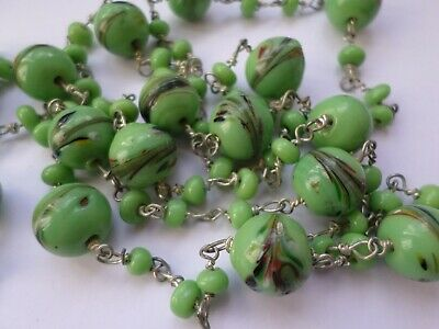 """Vintage circa Art Deco end of day Flapper necklace - green - 50"""" or 127 cm"""