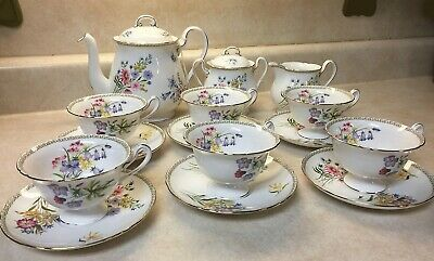 """Shelley Tea Set, Teapot, Cremer, Sugar and 6 cups and saucers, """"Wildflowers"""""""