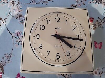 Vintage 1960's White SMITHS School Factory Large Wall Clock. Made in the UK.