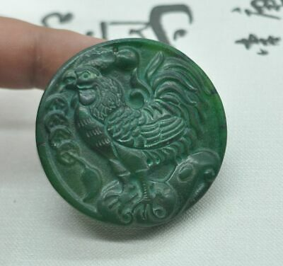 Chinese ancient old hard jade hand-carved pendant necklace ~chicken   M08
