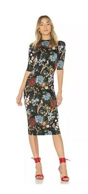 18cf440da0 Alice + Olivia Delora Mock Neck Fitted Midi Dress Floral Print Black Sz. 6  NEW