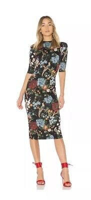 Alice + Olivia Delora Mock Neck Fitted Midi Dress Floral Print Black Sz. 6  NEW b6ddd265c