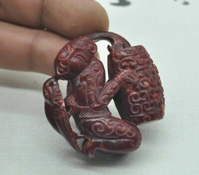 Chinese ancient old hard jade hand-carved pendant necklace ~ character M08