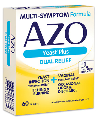 AZO Yeast Plus Infection Vaginal Symptom Relief Tablets, 60 Ct