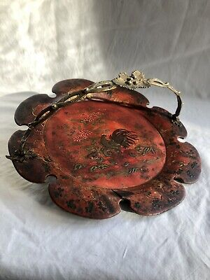 Antique 19th Century Chinese Red, Black & Gilt Lacquer Tray With Bronze Handle