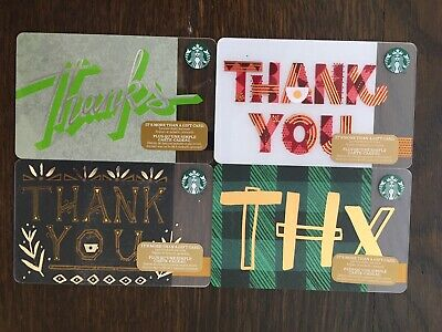 "Canada Series STARBUCKS 4 cards ""THANK YOU - VARIOUS YEARS"" - New No Value"