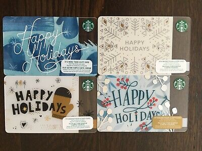 "Canada Series STARBUCKS 4 cards ""HAPPY HOLIDAYS - VARIOUS YEARS"" - New No Value"