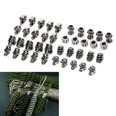 5Pcs Paracord Beads Metal Skull For Paracord Bracelet Accessories TO