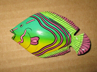 "Hand crafted wooden Fish pin 3"" across multi color"