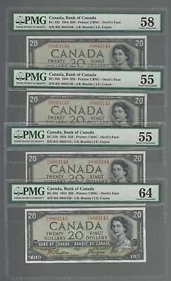 Bank of Canada 1954 $20 BC-33a Devils Face PMG AU-55 to CHUNC-64 consecutive lot