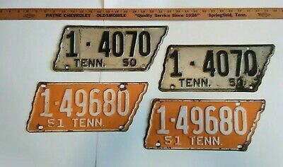 1950 & 1951 Pair Original paint Tennessee State Shape License Plates
