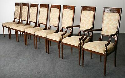 Karges Style Neoclassical French Design Eight Mahogany Dining Chair Set, 1960s