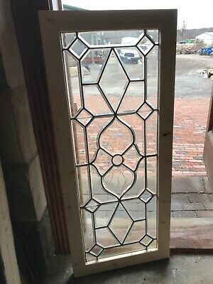 Sg 2809 Antique All Beveled Glass Transom Window 28 X 48 5/8""