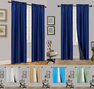 1 Set Tom Innovate Black Backing Panel Curtain Thermal 100% Privacy Blackout