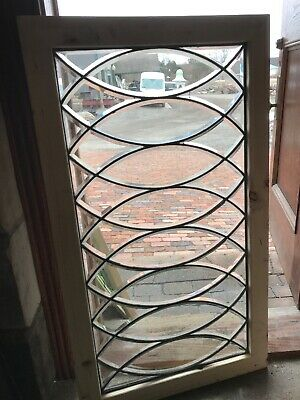 Sg 2813 Antique All Beveled Glass Transom Window Elliptical Arch 26.75 X 47