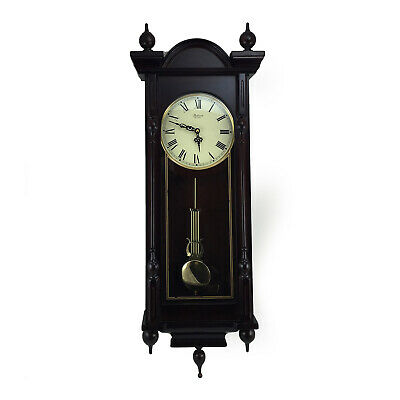 "Bedford Clock 31"" Antique Mahogany Cherry Oak Chiming Wall Clock Roman Numerals"