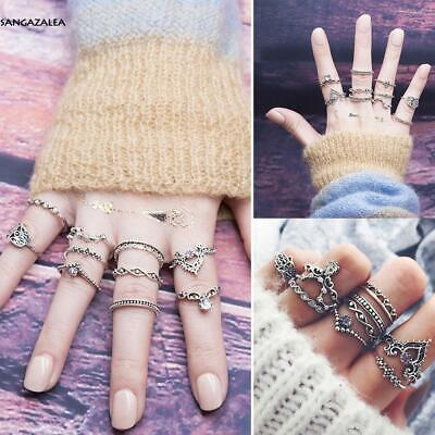 10 Pcs Ethnic Boho Style Festival Stainless Steel Knuckle Rings Assorted s2zl