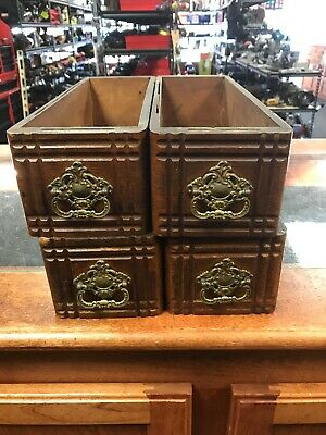 Vintage Singer Sewing Machine Handled Drawers Lot of Four