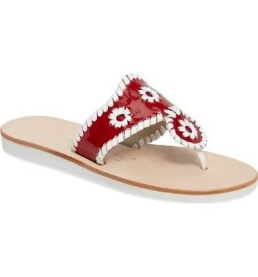 62363af7036 JACK ROGERS RED Patent Boating Jacks Thongs Sandals Size 6 M New ...