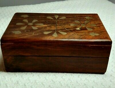 "Medium HAND CARVED WOODEN BOX With BRASS INLAID LID  ^"" X 4"" X 2 3/8"" tall"
