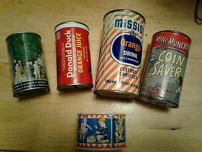 Vintage Lot Of 5 Tin Can Coin Banks