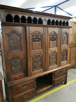 Stunning Early 19Thc Antique Handcarved Signed French Oak Large Cupboard