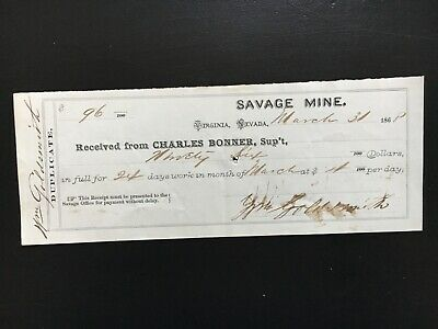 1886 Savage Mining Company Virginia City Nevada Payroll Receipt Comstock Lode
