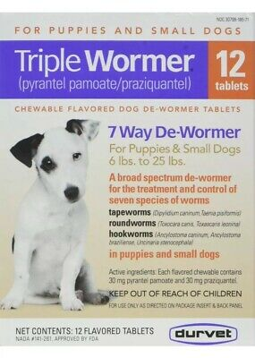 Durvet 12Pack Triple Wormer Tablets for Puppies and Small Dogs6lb To 25lbs.#1748