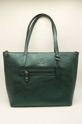 2883800abc4 NEW COACH Taylor Tote Women s Metallic Ivy Green Leather Bag 23592  275