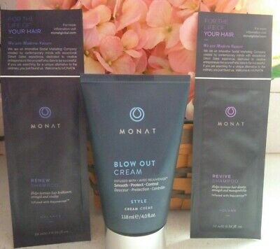 Monat Blow Out Styling Cream ~Smooth ~ Protect ~ Control ~ 2 Shampoo Samples