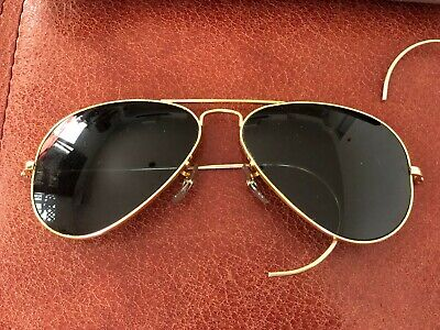 faebdce877 Vintage 58mm Ray-Ban Bausch Lomb B L Aviator Pilot Sunglasses Gold Frame