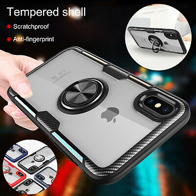 For iPhone XS Max XR X Case Hybrid Rubber 360º Ring Holder Stand Magnetic Cover