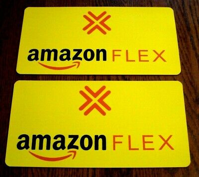 "(1 Pair) AMAZON FLEX Magnetic CAR VEHICLE SIGNS 6"" x 12"" FREE SHIPPING! Yellow"