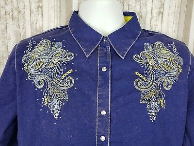 Rock 47 By Wrangler Western Shirt Womens XL Rhinestone Snap L/S Embroidered Blue