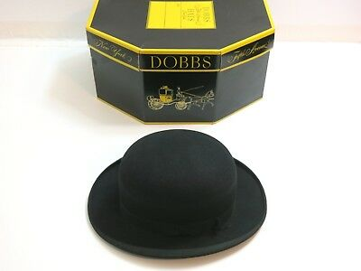Vintage Crestwell / Ashtron New York Black Bowler Derby Hat With Dobbs Box 6 7/8