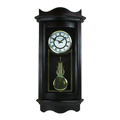"""Bedford Clock Collection Weathered Chocolate Cherry Wood 25"""" Wall Clock Pendulum"""
