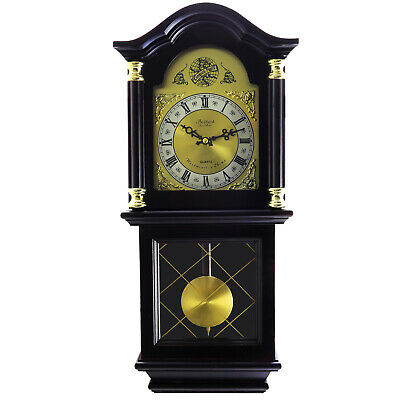 "Bedford Clock 26"" Antique Mahogany Cherry Oak Chiming Wall Clock Roman Numerals"