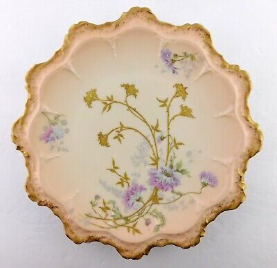 Antique 1900s Limoges PHL Hand Painted Plate France PH Leonard Pink Floral Gold