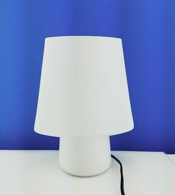 White Encased Glass French Mushroom Accent Lamp 10 in