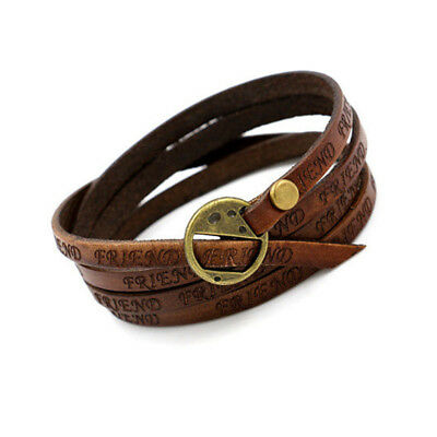 Unisex Tribal Women/Men Surfer Multilayer Leather Wrap Cuff Bracelet Brown H89