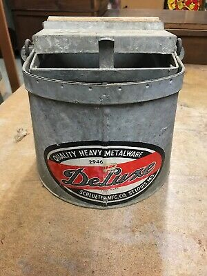 Schlueter Mfg Deluxe Co Galvanized Metal Mid Century Mop Bucket w Wood Rollers
