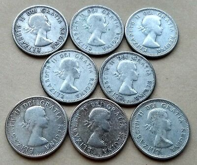 Lot Of 8 Canada Silver 1953, 1957,1959-64 Dimes Young Queen 10 Cents Exact Coins
